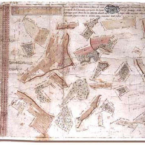 Storica mappa catastale del febbraio 1795 attestante l'acquisto della Cascina Ciaramel